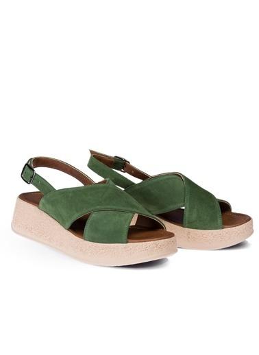 Deery Hakiki Deri Sandalet Yeşil